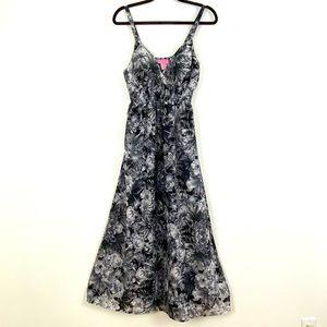 She's Cool Lined Black & White Floral Halter Dress